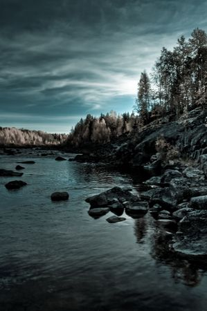 calm autumn scenery in the north of sweden