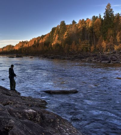 autumn fishing in the north of sweden Stock Photo - 1779489