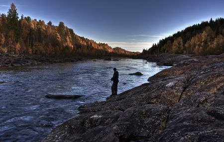 autumn fishing in the north of sweden photo