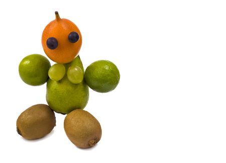 tamarillo: A fresh and healthy little woman made out of fruit Stock Photo
