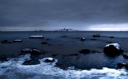 seascape view over a frozen baltic sea photo