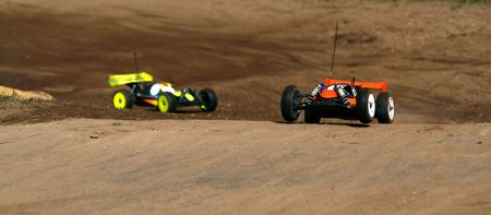 rc toy car rally on dirt track Stock Photo