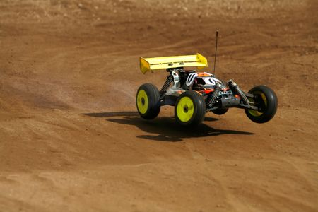 radio activity: rc toy car rally on dirt track Stock Photo