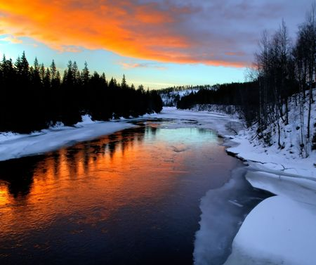 sweden winter: winter river scenery from Lapland in the north of sweden Stock Photo