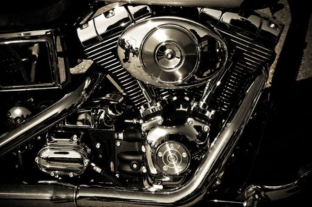 cruiser bike: close up of a classic motorcycle with lots of chrome details Stock Photo