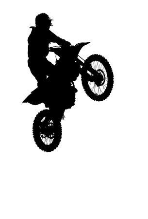 motorcross: motocross rider hacer un salto en una carrera de pista
