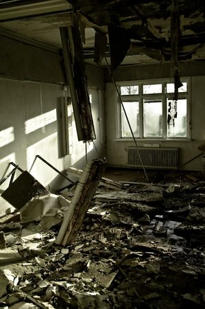 bad condition: interiors of a neglected house in really bad condition  filled with mold and devastation Stock Photo
