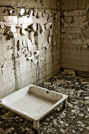 interiors of a neglected house in really bad condition  filled with mold and devastation Stock Photo