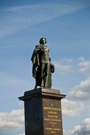 gustaf: statue of king Gustaf  III outside the royal castle of Stockholm, Sweden Stock Photo