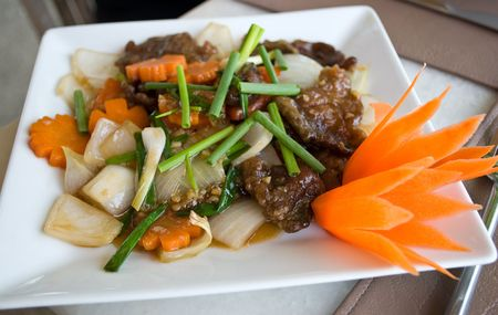 Spicy thai food with beef and oyster sauce Stock Photo