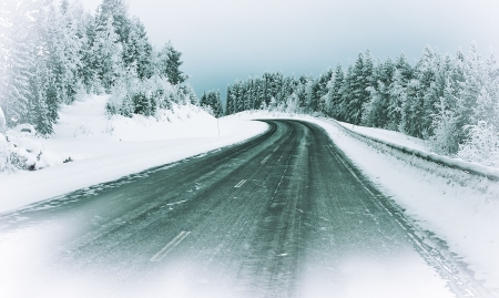 an icy road in the north of Sweden Stock Photo - 6288849