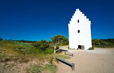 gabled: Tilsandede Kirke an old famous church at Skagen, the northernmost part of Denmark Stock Photo