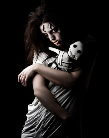 ghost woman: a scary looking girl possessed by a demon