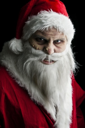 portrait of a scary looking santa claus