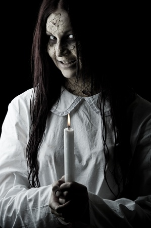 lucia: a dark scary version of the folklore character lucia Stock Photo