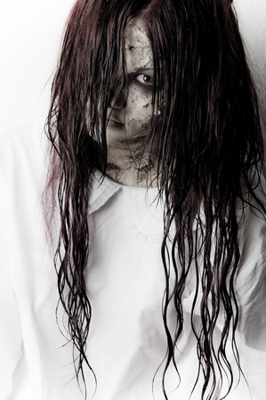 zombies: a scary ghost girl wearing a white nightie Stock Photo