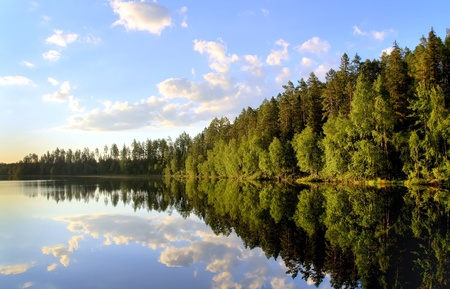 peaceful scenery at a lake in the north of sweden photo