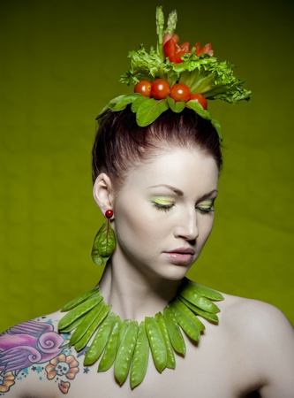 vegetarian: a colorful and creative makeup shot with fresh vegetables