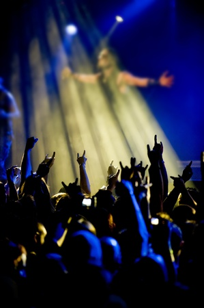 distort: a silhouette of a rocker live on stage Stock Photo