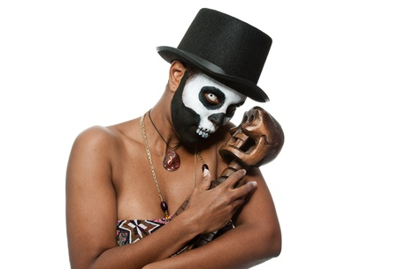 vodoo: a female voodoo priestess with face paint