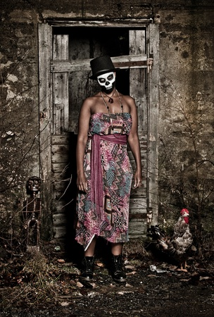 ugly girl: a female voodoo priestess with face paint