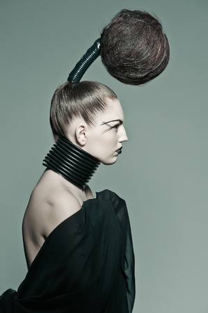 a young model with a creative avantgarde hairstyle Stock Photo
