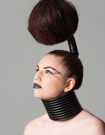 avantgarde: a young model with a creative avantgarde hairstyle Stock Photo
