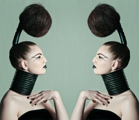 a young model with a creative avantgarde hairstyle Stock Photo - 13487173