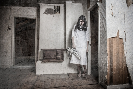 scary girl: a scary haunted ghost girl in a rural setting