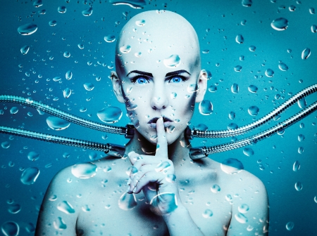 an underwater robot girl connected with metal cables Stock Photo - 16586611