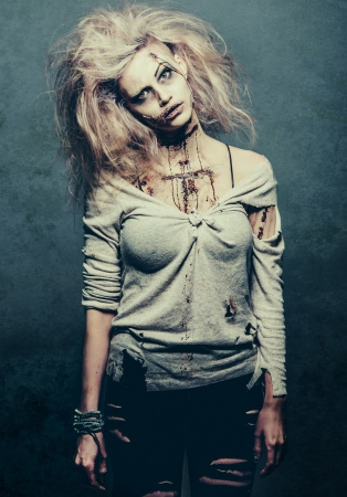 halloween ugly: a scary undead zombie girl