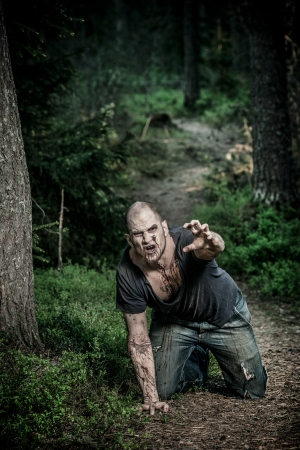 undead: a scary and bloody zombie man