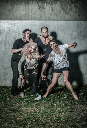 scary bloody zombies waiting for a prey