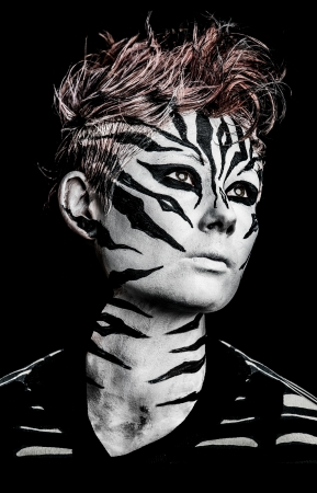 fashion girl wearing a creative zebra makeup