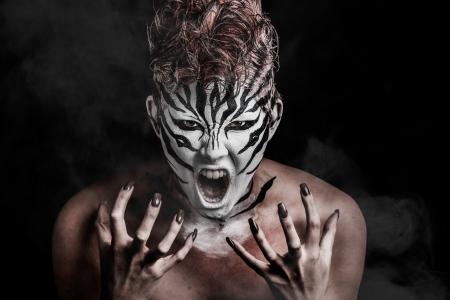fashion girl wearing a creative zebra makeup
