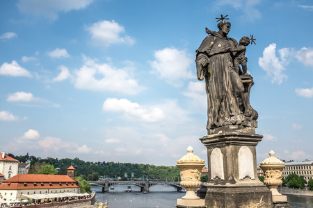 view from Charles Bridge in Prague city center