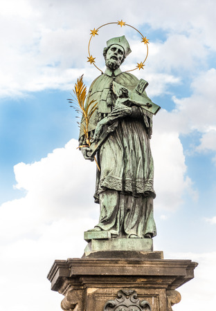 The statue of John of Nepomuk on Charles Bridge (Prague, Czech Republic).