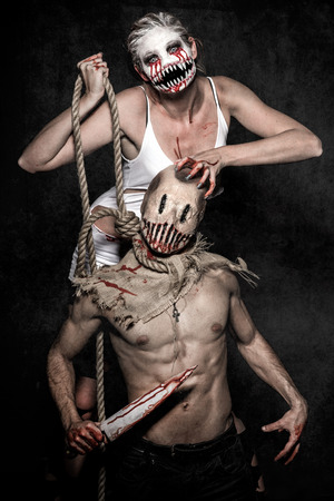 a scary demon woman and a killer monster