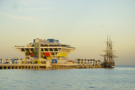 St. Petersburg Pier with ship from Mutiny on the Bounty in Tampa Bay