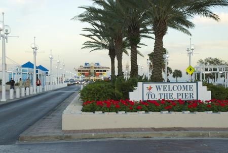st  pete: St. Petersburg Pier sign and road to the pier in Tampa Bay