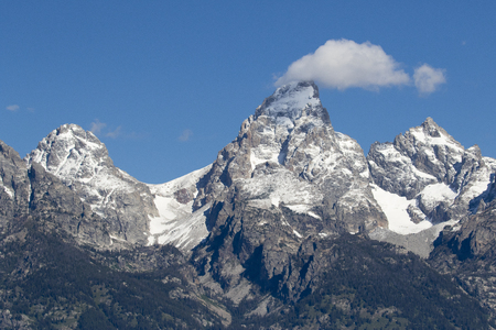 Grand Teton, Mount Owen and glaciers in the valleys of the Grand Stok Fotoğraf