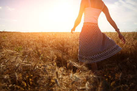 intentional: A girl walking through the wheat field to the sun (intentional sun glare, motion blur) Stock Photo