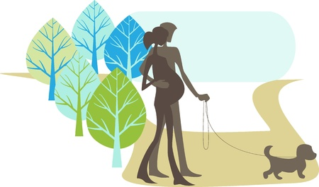 dog walker: The man and pregnant woman walk in the park with their dog Illustration