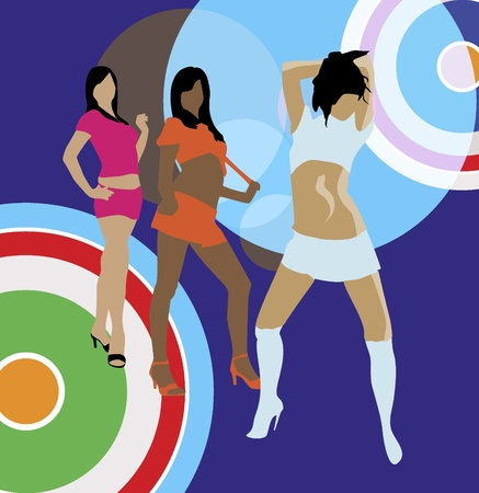 Disco girls on the abstract background  Vector