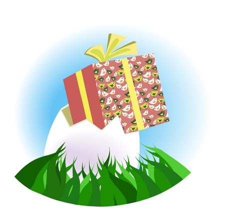 Gift egg on the grass
