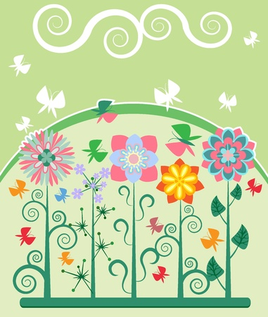 The butterflies flying over the flowers  Vector
