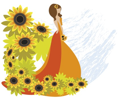 red haired woman: The girl with sunflower  Illustration