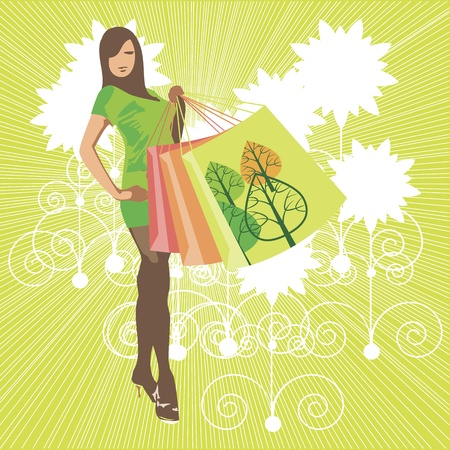 clothing model: The girl with shopping bags   Illustration