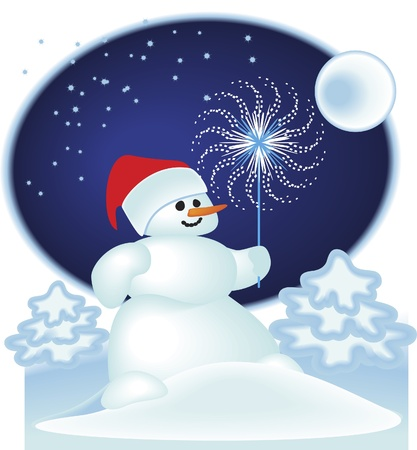 The snowman on the night background  Vector