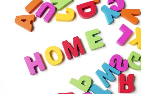 Isolated  HOME  Colorful Wooden Letters and Word, Learning English Word and Meaning 写真素材